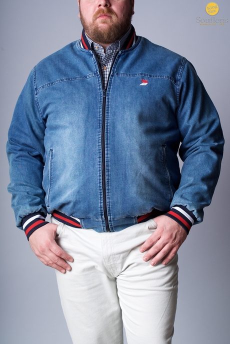 XXL BOMBER LIGHTWEIGHT DEKON'S TZIN - 00000475 - LIGHT BLUE DENIM KingSizeSoufleris