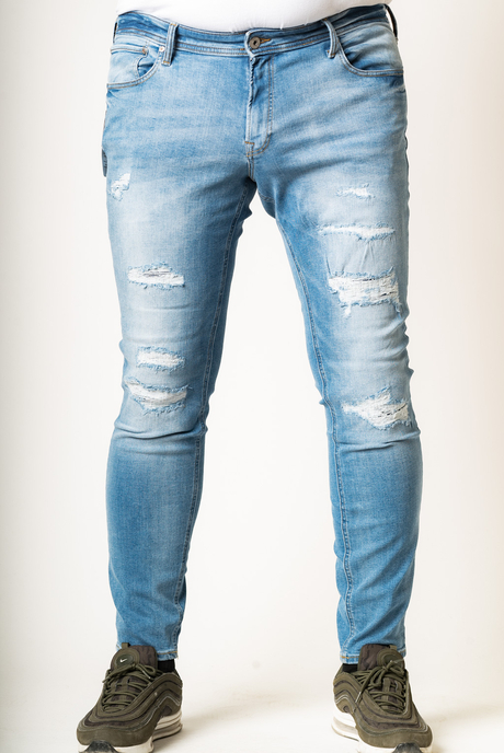 XXL JEAN JACK & JONES SLIM STRAIGHT ΣΚΙΣΙΜΑΤΑ - 00003249 - LIGHT BLUE DENIM KingSizeSoufleris